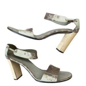 Vintage Gucci Snakeskin Sandals Heels Ankle Gray 8